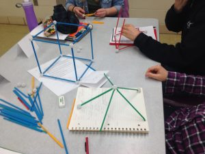 students building objects in order to observe patterns