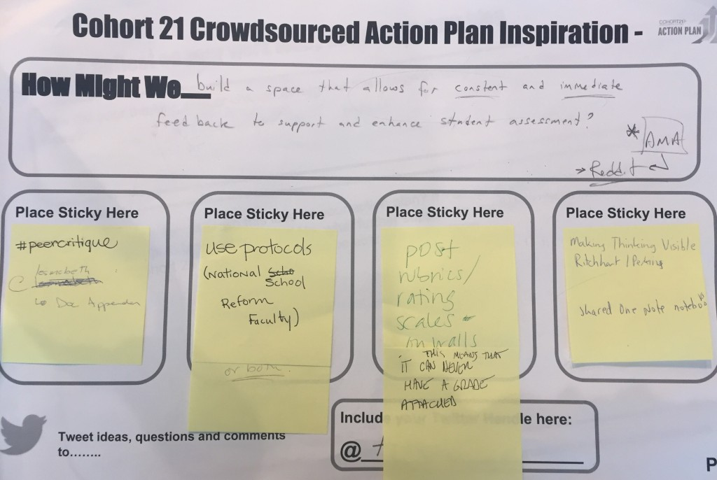 My challenge - perhaps this is two action plans in one. The design thinking process allowed me to break down my problem and see it more clearly. The immediate feedback through collaboration at Cohort 21 was exactly what I needed.